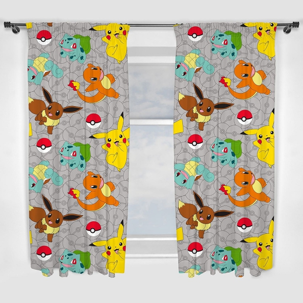 Pokemon 'Catch' Pencil Pleat 66 X 54 inch Drop Curtain Pair