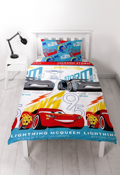 Disney Cars 3 'Lightning' Reversible Rotary Single Bed Duvet Quilt Cover Set