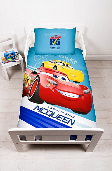 Disney Cars 3 '' Lightning'' Panel Junior Cot Bed Duvet Quilt Cover Set