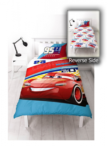 Disney Cars 3 'Lightning Mcqueen' Reversible Panel Single Bed Duvet Quilt Cover Set