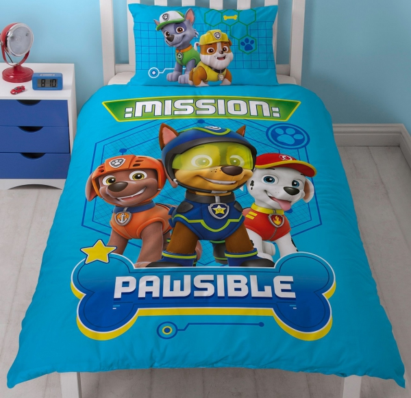 Paw Patrol 'Spy' Mission Pawsible Panel Single Bed Duvet Quilt Cover Set
