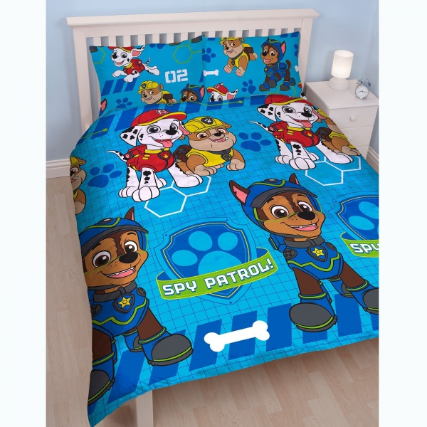 Paw Patrol 'Spy' Reversible Rotary Double Bed Duvet Quilt Cover Set