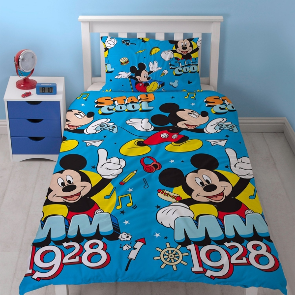 Mickey Mouse 'Cool' Rotary Single Bed Duvet Quilt Cover Set