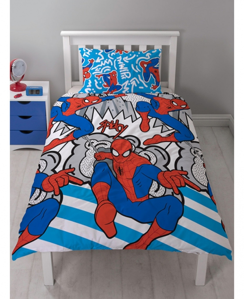 Spiderman 'Popart' Reversible Rotary Single Bed Duvet Quilt Cover Set