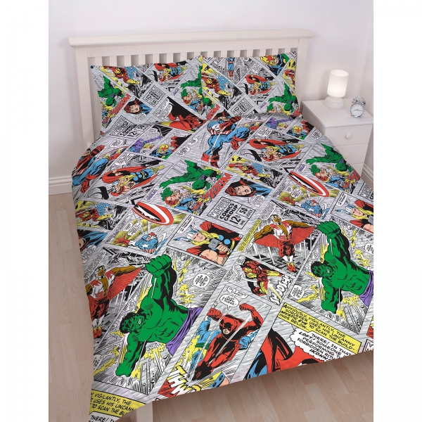 Marvel Comics 'Retro' Reversible Rotary Double Bed Duvet Quilt Cover Set