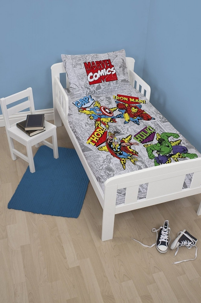 Marvel Retro Comics Panel Junior Cot Bed Duvet Quilt Cover Set