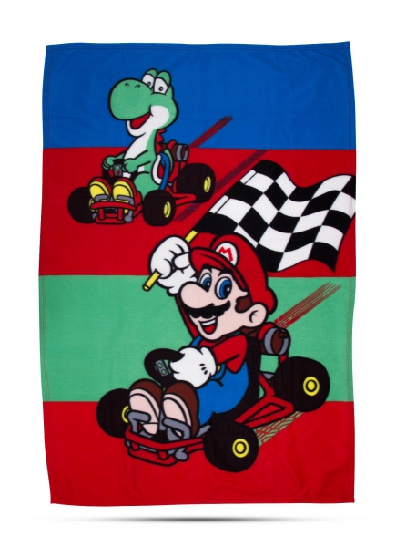 Mario Mariokart 'Champs' Panel Fleece Blanket Throw
