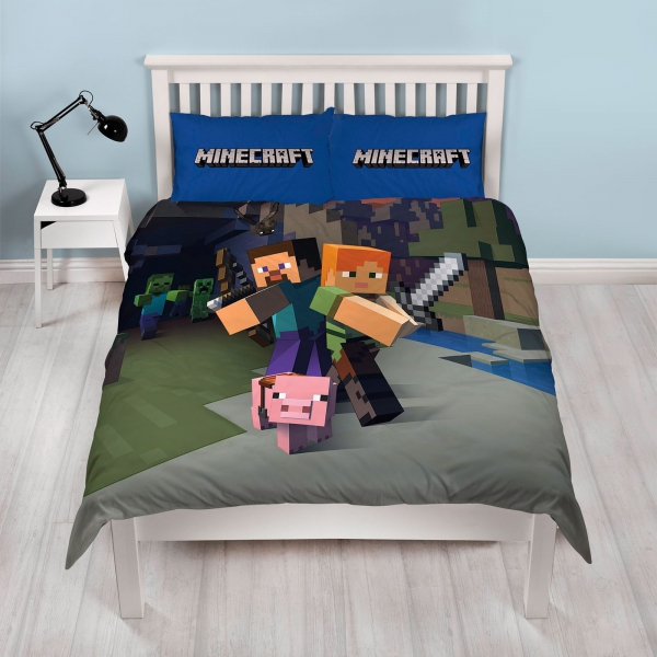 Minecraft 'Good Guys' Panel Double Bed Duvet Quilt Cover Set