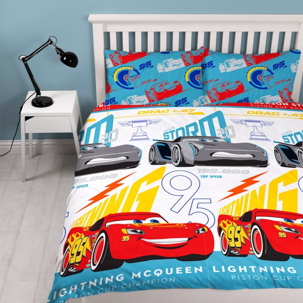 Disney Cars 3 'Lightning' Reversible Rotary Double Bed Duvet Quilt Cover Set