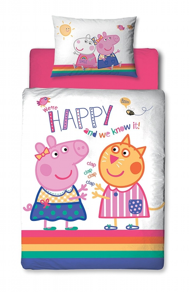 Peppa Pig Hooray Toddler Panel Junior Cot Bed Duvet Quilt Cover Set