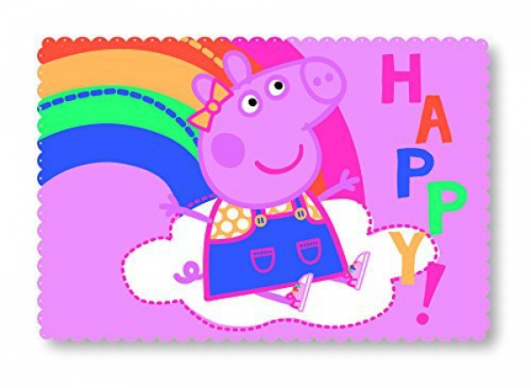 Peppa Pig Hooray Polar Fleece Blanket Rainbow Design Panel Throw