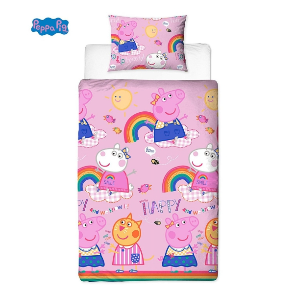 Peppa Pig Friends Hooray Rotary Single Bed Duvet Quilt Cover Set