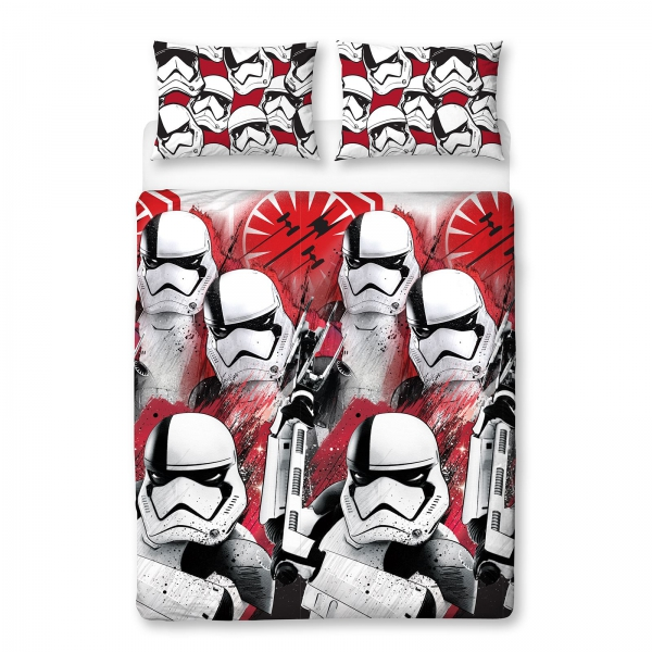 Disney Star Wars Episode 8 'Trooper' Reversible Rotary Double Bed Duvet Quilt Cover Set