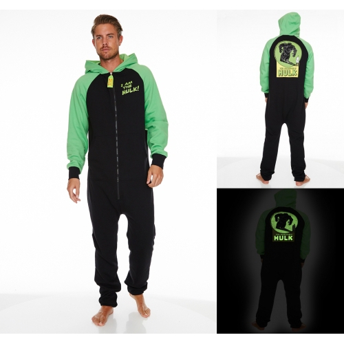 Marvel Comics 'Hulk' Glow In The Dark Hooded Mens Large Jumpsuit