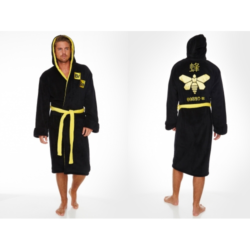 Breaking Bad 'Methylamine Bee' Black & Yellow Hooded One Size Bathrobe