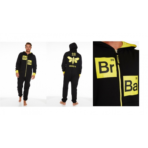 Breaking Bad 'Methylamine Bee' Black & Yellow Hooded Mens Large Jumpsuit