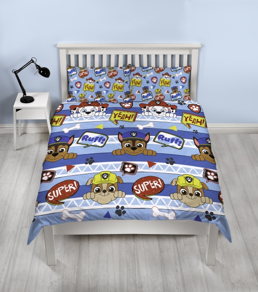 Paw Patrol Peek Blue Rotary Double Bed Duvet Quilt Cover Set