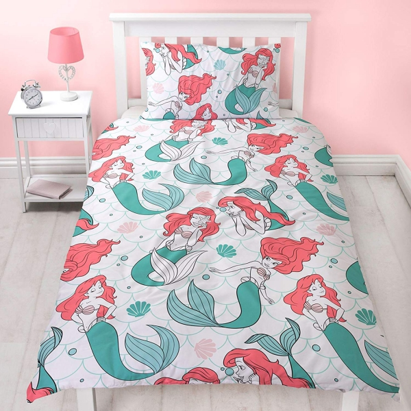 Disney Princess Ariel Oceanic The Little Mermaid Rotary Single Bed Duvet Quilt Cover Set