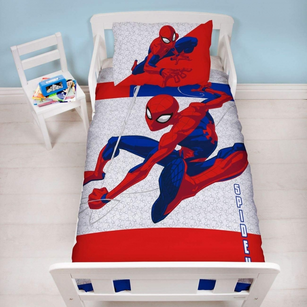 Disney Spiderman Metropolis Panel Junior Cot Bed Duvet Quilt Cover Set