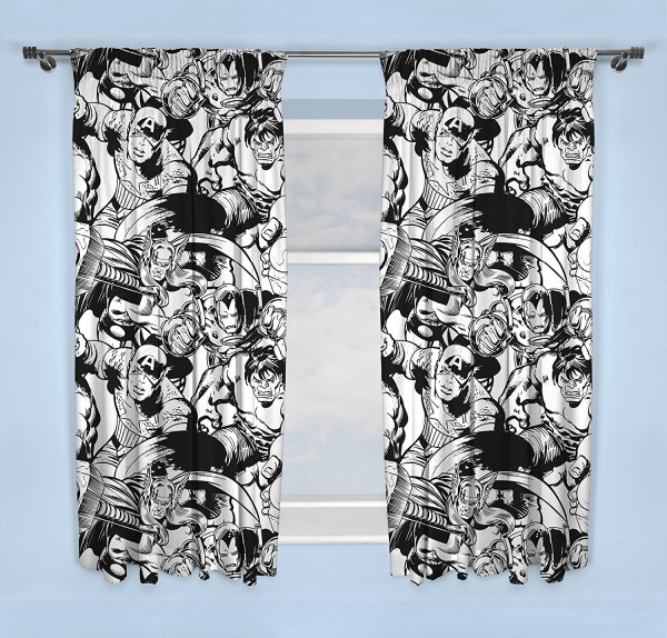 Marvel Comics Crop Black & White 66 X 72 inch Drop Curtain Pair