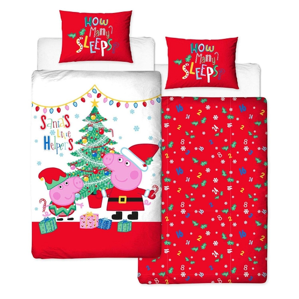 Peppa Pig, Christmas Noel Panel Single Bed Duvet Quilt Cover Set