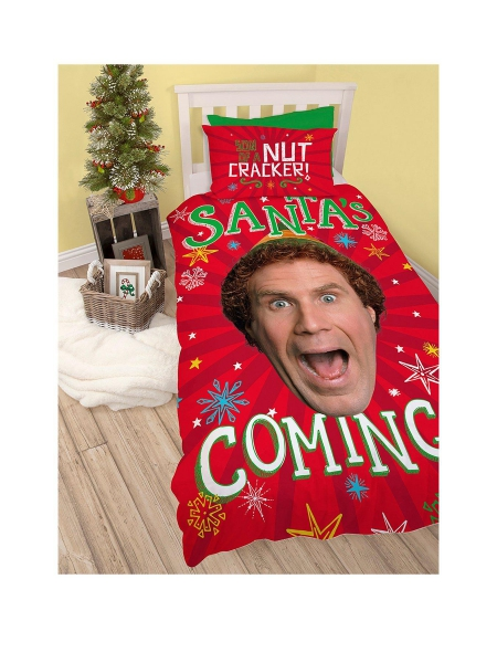 The Elf 'Santa' Christmas Panel Single Bed Duvet Quilt Cover Set