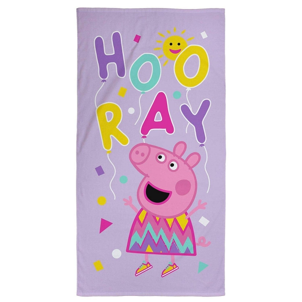 Peppa Pig Hooray Balloons Printed Beach Towel