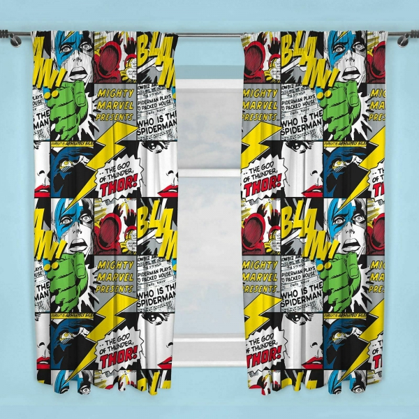 Marvel Comics Scribble 66 X 72 inch Drop Curtain Pair