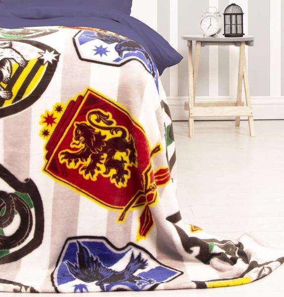Harry Potter House Stripy Grey & White Rotary Fleece Blanket Throw