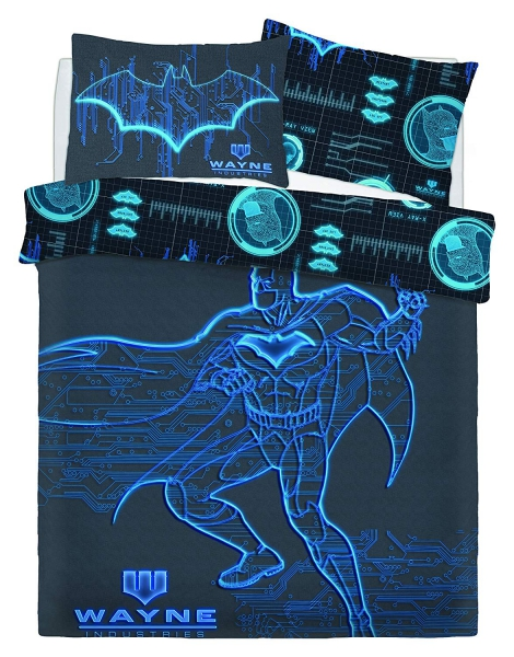 Batman Wayne Industries Panel Double Bed Duvet Quilt Cover Set