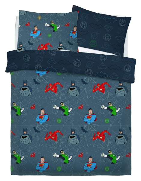 Justice League Graphic Grid Rotary Double Bed Duvet Quilt Cover Set