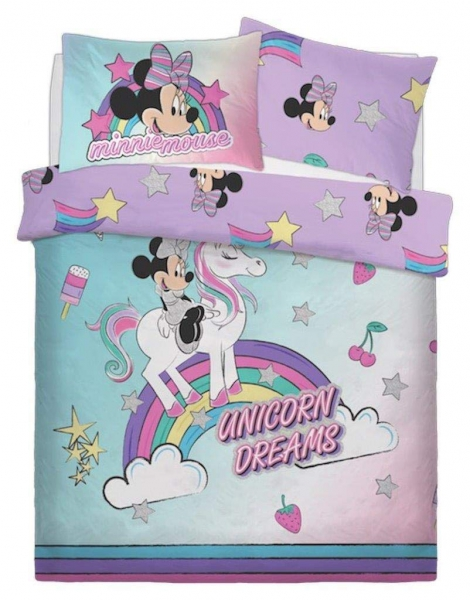 Disney Minnie Mouse 'Unicorn' Panel Double Bed Duvet Quilt Cover Set