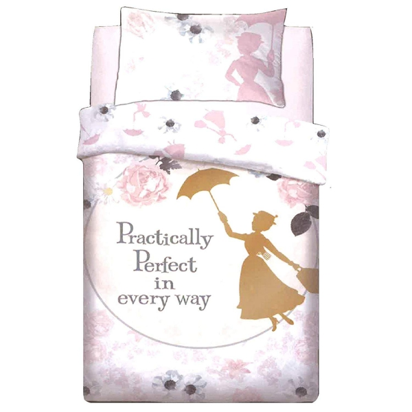 Disney Mary Poppins Perfect Reversible Panel Single Bed Duvet Quilt Cover Set