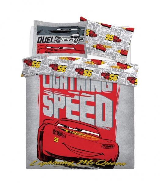Disney Cars Lightning Speed Panel Double Bed Duvet Quilt Cover Set