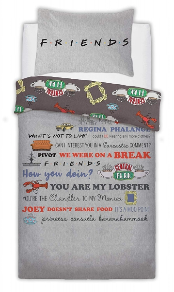 Friend Slogan Panel Single Bed Duvet Quilt Cover Set