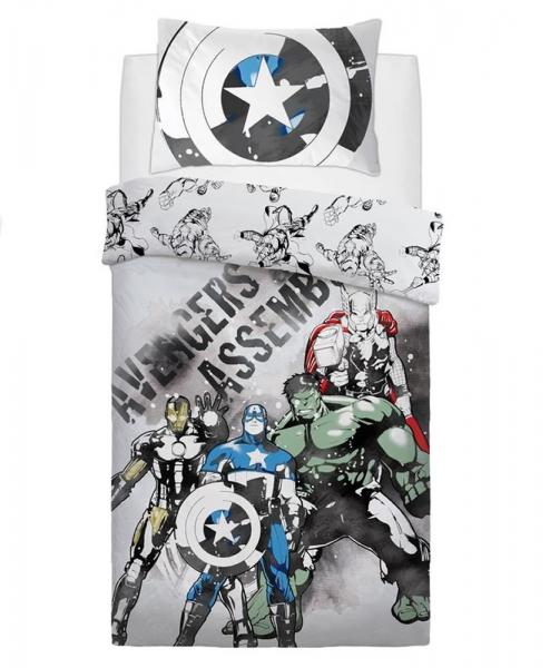 Disney Avengers Watercolour Panel Single Bed Duvet Quilt Cover Set