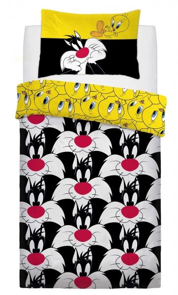 Disney Looney Tunes Sylvester & Tweety Panel Single Bed Duvet Quilt Cover Set