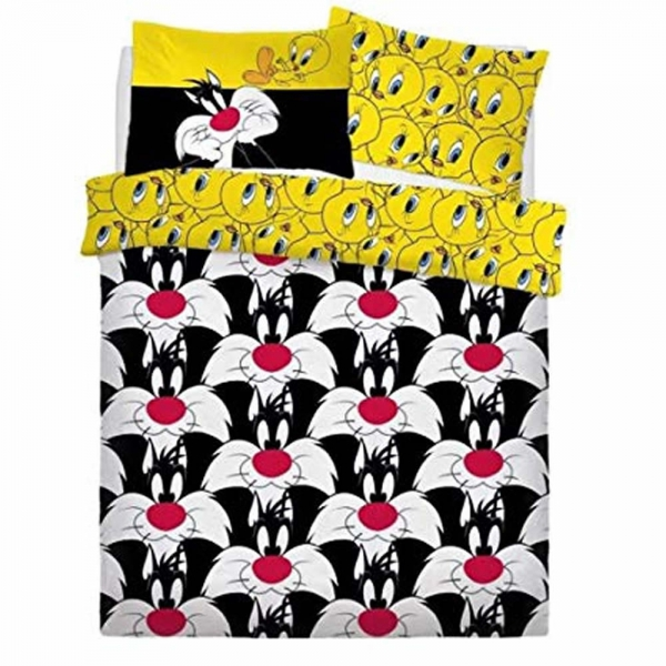Looney Tunes Sylvester & Tweety Panel Single Bed Duvet Quilt Cover Set