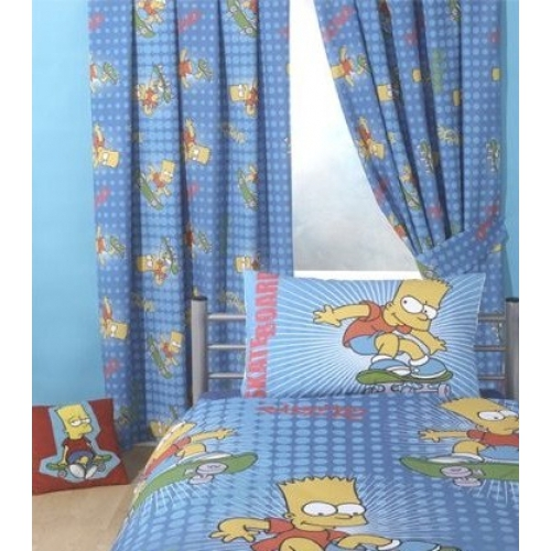 Bart Simpson Cool Dude 66 X 54 inch Drop Curtain Pair