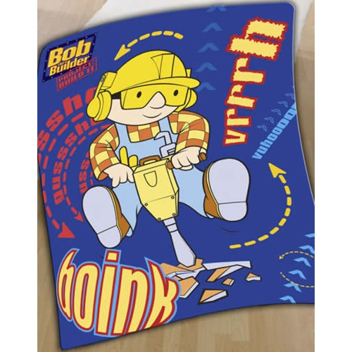 Bob The Builder Drilling Panel Fleece Blanket Throw