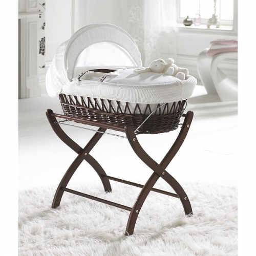 Izziwotnot Gift White Wicker Moses Basket Dark