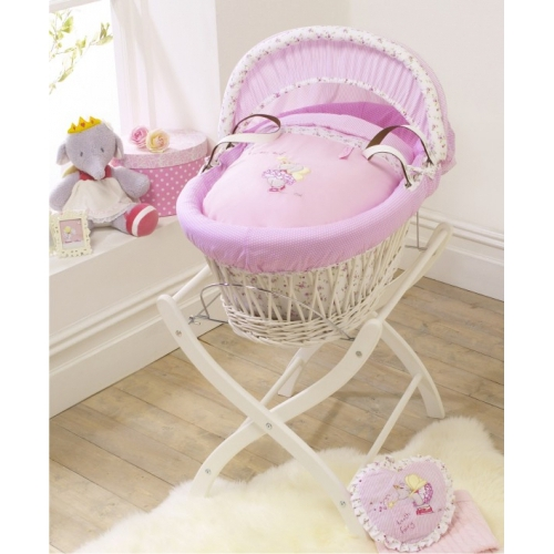 Izziwotnot Lottie Fairy Princess Wicker Moses Basket White