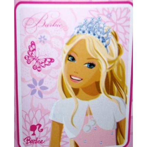Barbie Sparkle Panel Fleece Blanket Throw