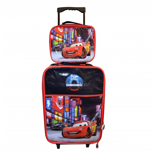 Disney Cars 'Neon' 2 Piece Suitcase with Lunch Bag Luggage Set