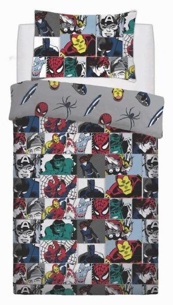 Marvel Comics 'Colour Pop' Rotary Single Bed Duvet Quilt Cover Set