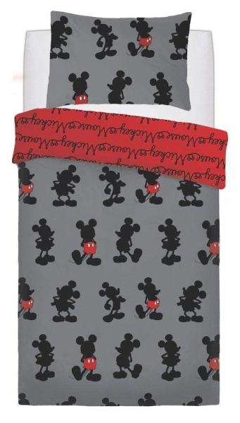Mickey Mouse Pops of Red' Rotary Single Bed Duvet Quilt Cover Set