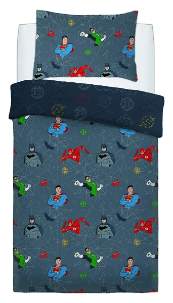 Justice League Graphic Grid Rotary Single Bed Duvet Quilt Cover Set