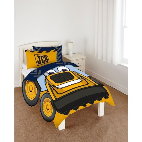 My First Jcb 'Halo' with Cut Out Wheels Panel Single Bed Duvet Quilt Cover Set