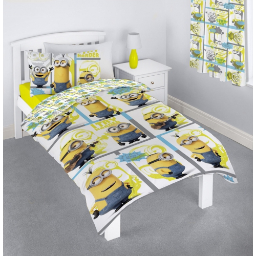 Minions 'Let' S Try Harder' Rotary Single Bed Duvet Quilt Cover Set