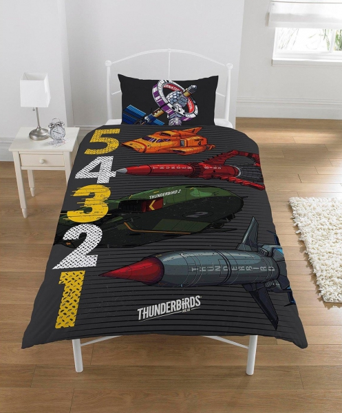 Thunderbirds 5 4 3 2 1 Panel Single Bed Duvet Quilt Cover Set